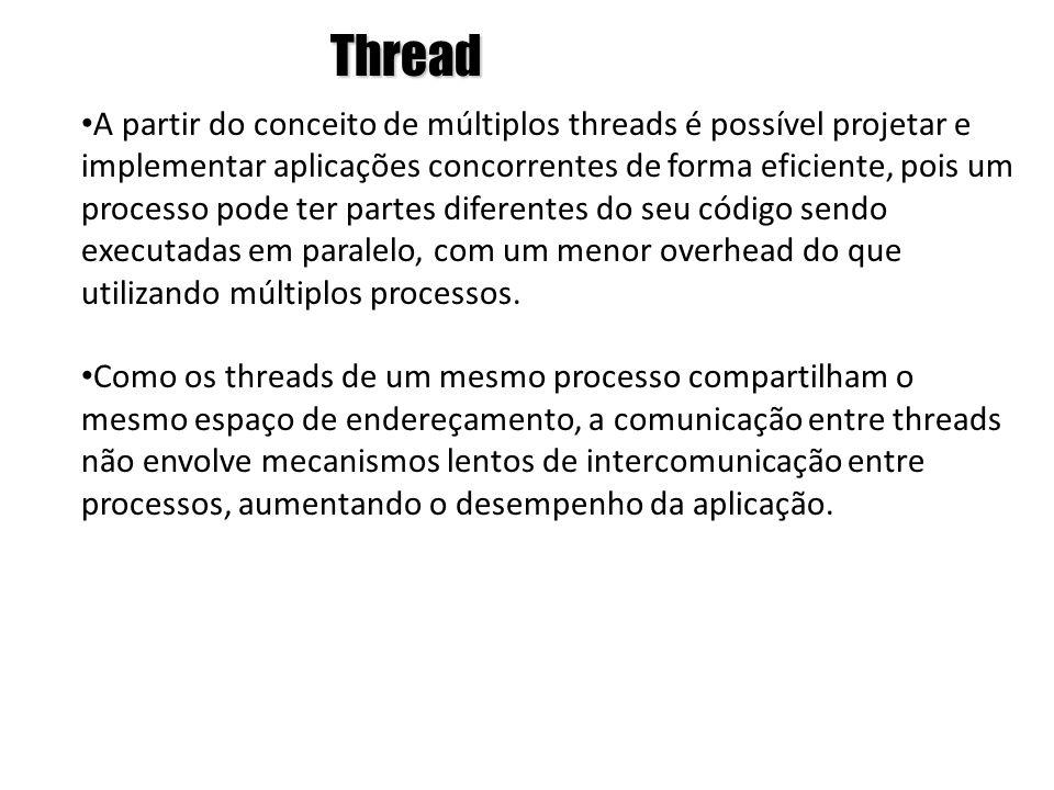 Thread • A partir do conceito de múltiplos threads é possível projetar e implementar aplicações concorrentes de forma eficiente, pois um processo pode