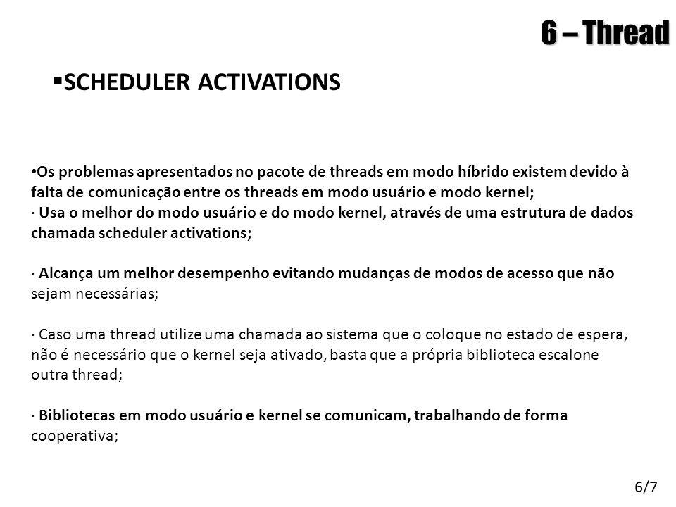 Arquitetura de Sistemas Operacionais – Machado/Maia 6 – Thread  SCHEDULER ACTIVATIONS 6/7 • Os problemas apresentados no pacote de threads em modo hí