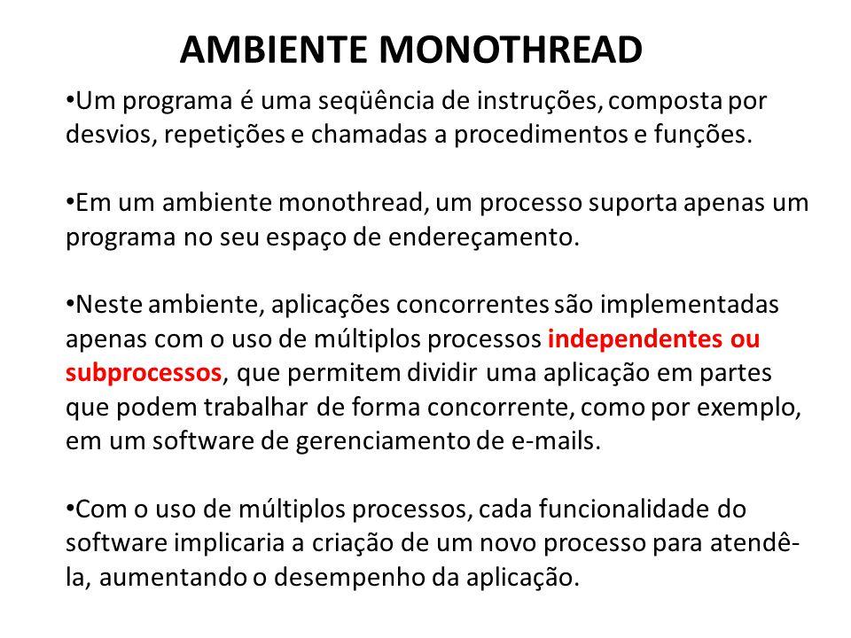 AMBIENTE MONOTHREAD • Um programa é uma seqüência de instruções, composta por desvios, repetições e chamadas a procedimentos e funções. • Em um ambien