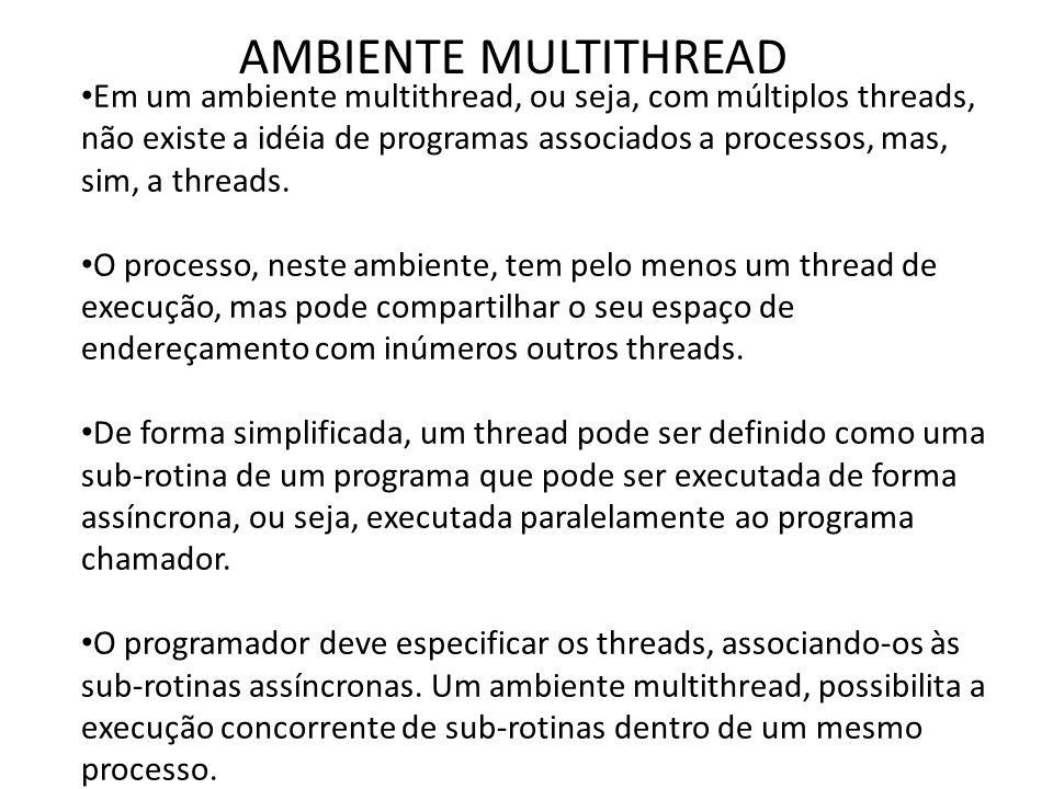 AMBIENTE MULTITHREAD • Em um ambiente multithread, ou seja, com múltiplos threads, não existe a idéia de programas associados a processos, mas, sim, a