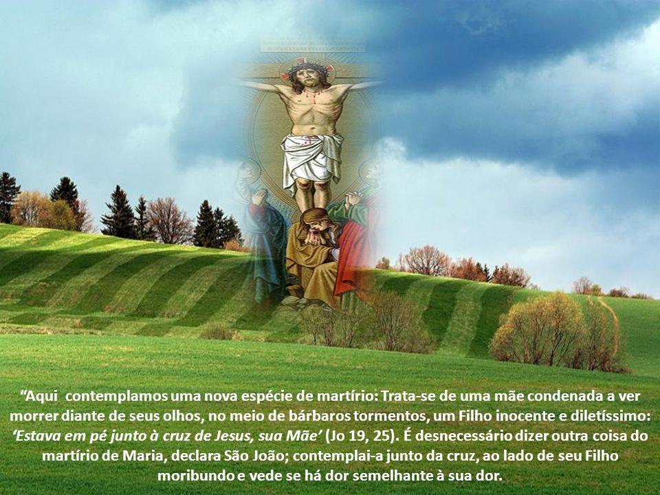 Quando fugiram os Apóstolos, estava ao pé da cruz, olhando as chagas de Seu Filho, não como quem espera a morte de seu tesouro, senão a salvação do mu