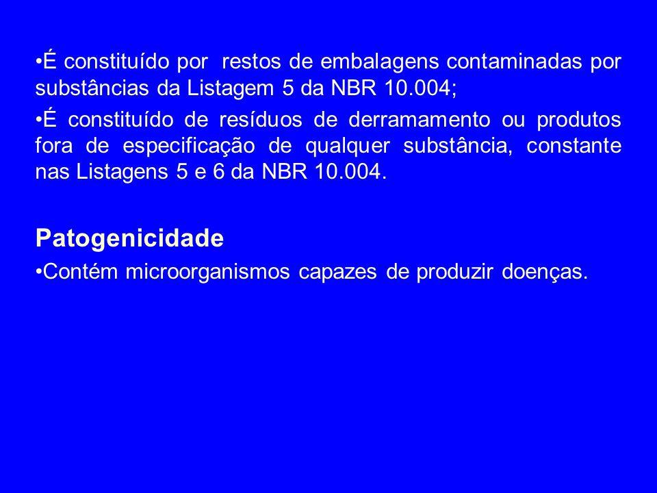 •É constituído por restos de embalagens contaminadas por substâncias da Listagem 5 da NBR 10.004; •É constituído de resíduos de derramamento ou produt