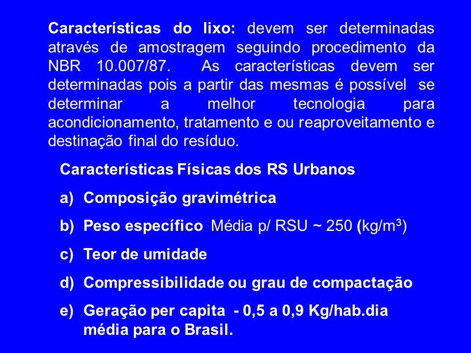 Características do lixo: devem ser determinadas através de amostragem seguindo procedimento da NBR 10.007/87. As características devem ser determinada