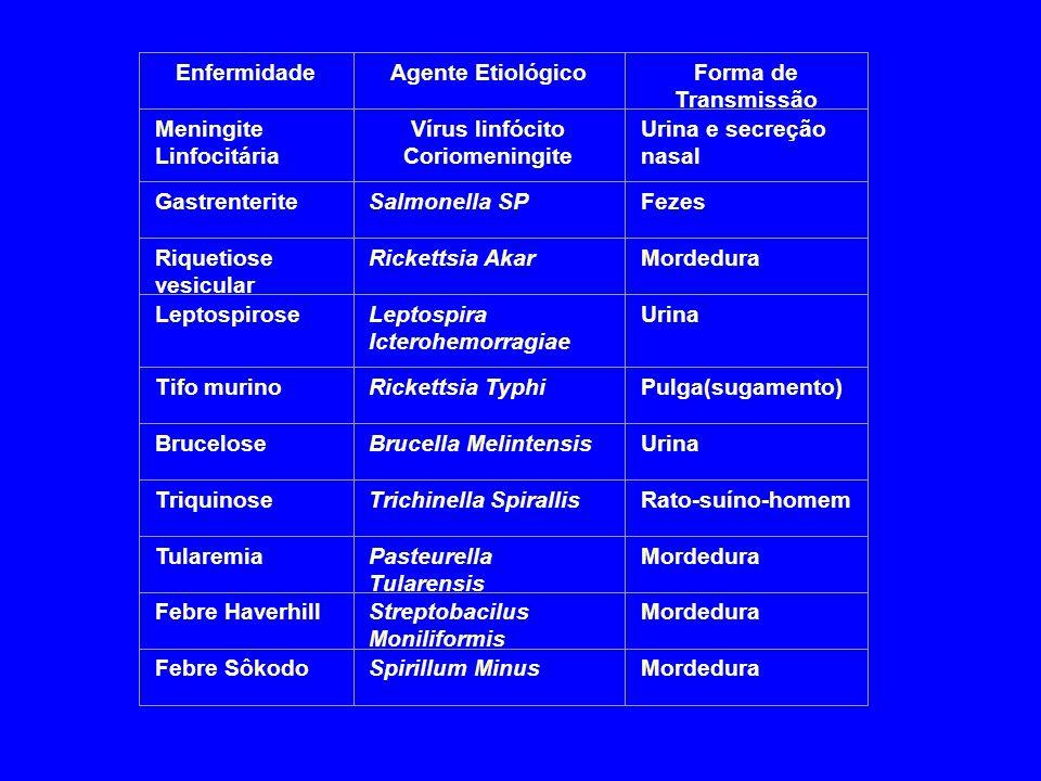 EnfermidadeAgente EtiológicoForma de Transmissão Meningite Linfocitária Vírus linfócito Coriomeningite Urina e secreção nasal GastrenteriteSalmonella
