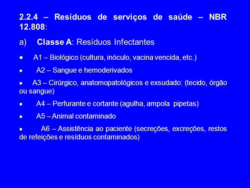2.2.4 – Resíduos de serviços de saúde – NBR 12.808: a) Classe A: Resíduos Infectantes  A1 – Biológico (cultura, inóculo, vacina vencida, etc.)  A2 –