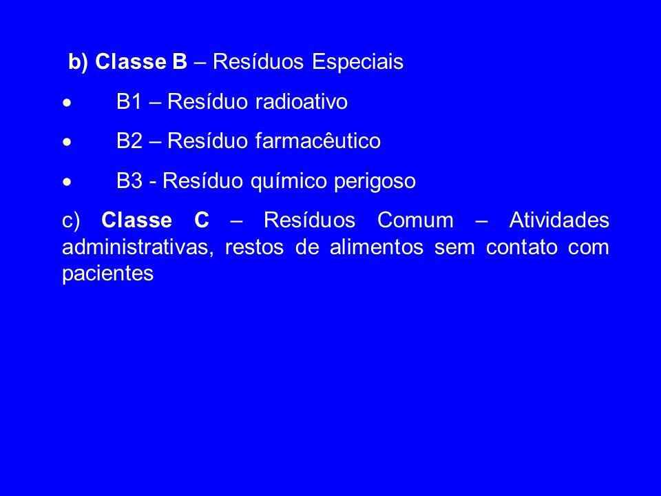 b) Classe B – Resíduos Especiais  B1 – Resíduo radioativo  B2 – Resíduo farmacêutico  B3 - Resíduo químico perigoso c) Classe C – Resíduos Comum –