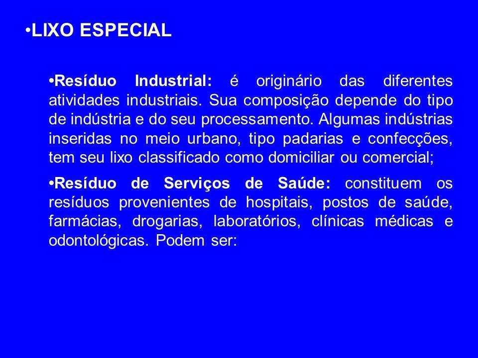•LIXO ESPECIAL •Resíduo Industrial: é originário das diferentes atividades industriais. Sua composição depende do tipo de indústria e do seu processam