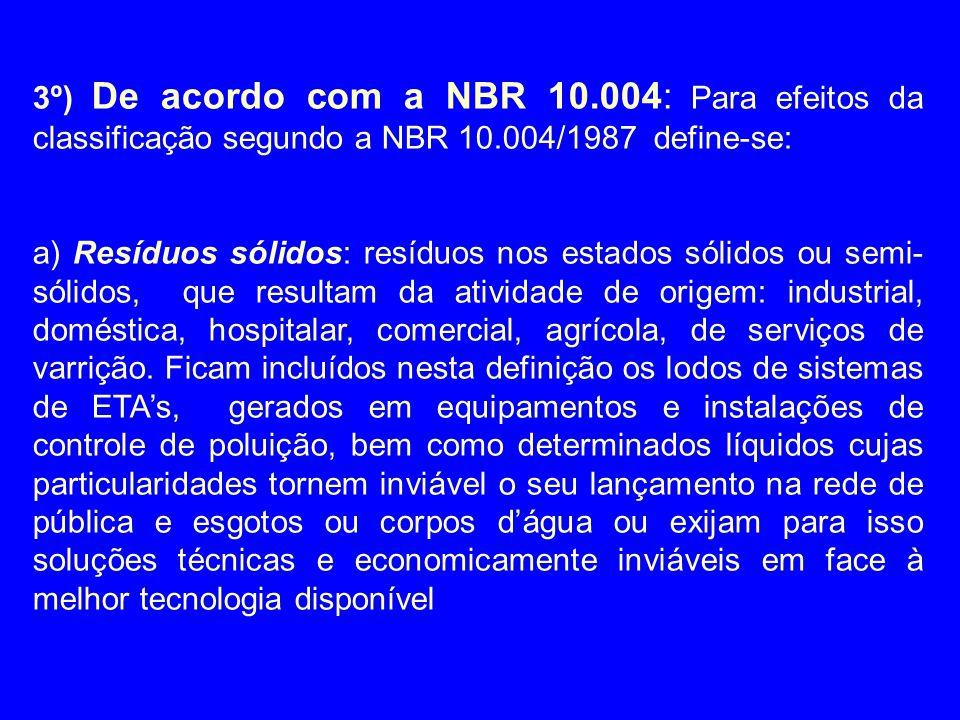 3º) De acordo com a NBR 10.004: Para efeitos da classificação segundo a NBR 10.004/1987 define-se: a) Resíduos sólidos: resíduos nos estados sólidos o
