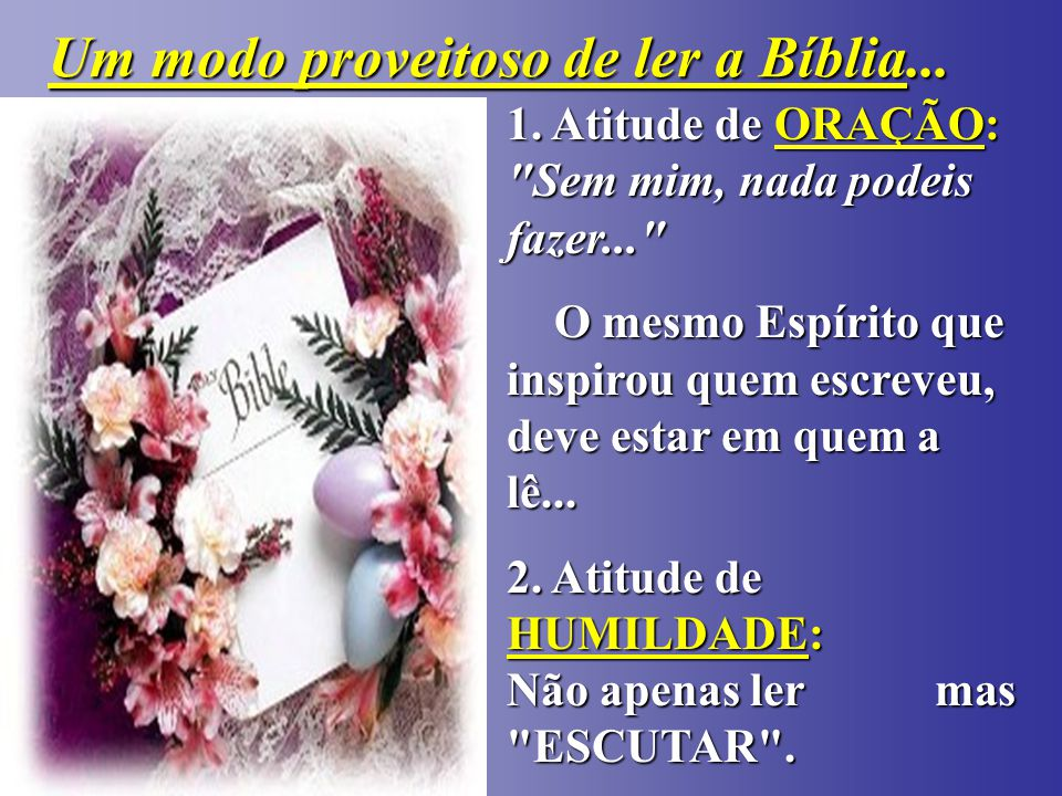 - -Nós -Nós TEMOS TEMOS a Bíblia.-Nós -Nós LEMOS.