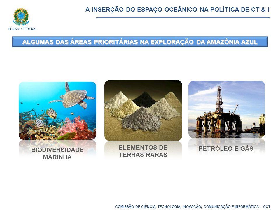 COMISSÃO DE CIÊNCIA, TECNOLOGIA, INOVAÇÃO, COMUNICAÇÃO E INFORMÁTICA – CCT ALGUMAS DAS ÁREAS PRIORITÁRIAS NA EXPLORAÇÃO DA AMAZÔNIA AZUL ELEMENTOS DE TERRAS RARAS PETRÓLEO E GÁS BIODIVERSIDADE MARINHA A INSERÇÃO DO ESPAÇO OCEÂNICO NA POLÍTICA DE CT & I SENADO FEDERAL