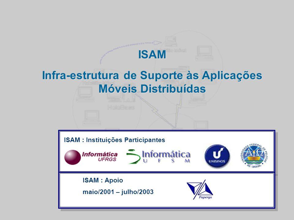  Clique para editar os estilos do texto mestre  Segundo nível  Terceiro nível  Quarto nível  Quinto nível Maio /2008- Slide 11 ISAM Infra-estrutura de Suporte às Aplicações Móveis Distribuídas ISAM : Instituições Participantes ISAM : Apoio maio/2001 – julho/2003