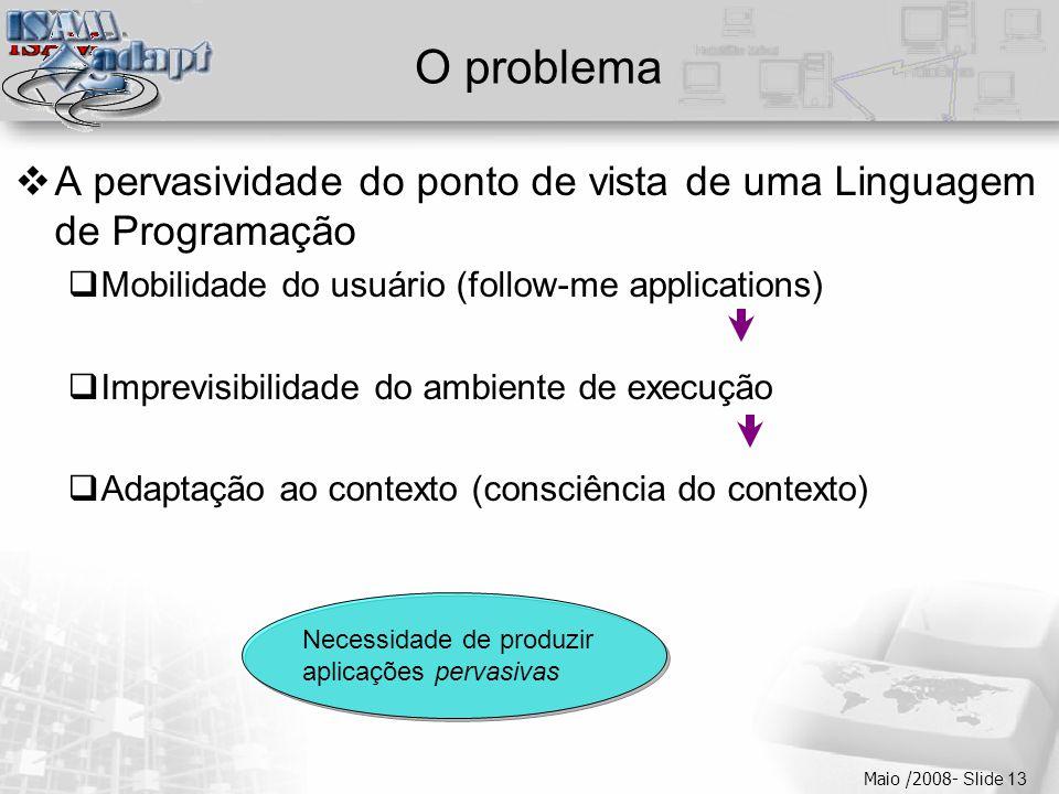  Clique para editar os estilos do texto mestre  Segundo nível  Terceiro nível  Quarto nível  Quinto nível Maio /2008- Slide 13 Necessidade de pro