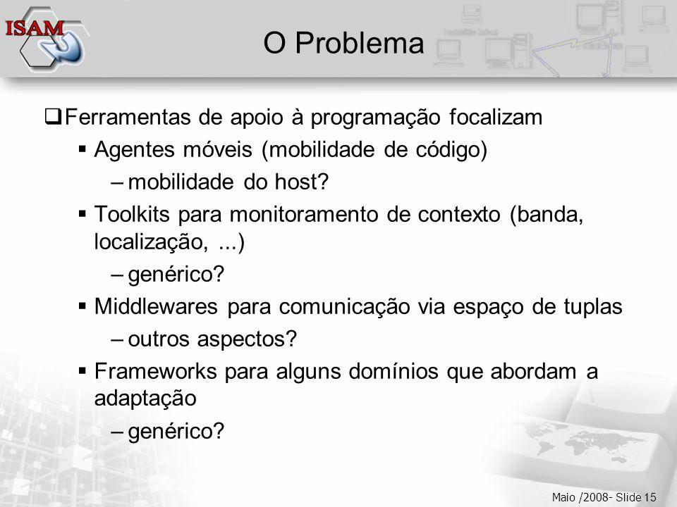  Clique para editar os estilos do texto mestre  Segundo nível  Terceiro nível  Quarto nível  Quinto nível Maio /2008- Slide 15 O Problema  Ferramentas de apoio à programação focalizam  Agentes móveis (mobilidade de código) –mobilidade do host.