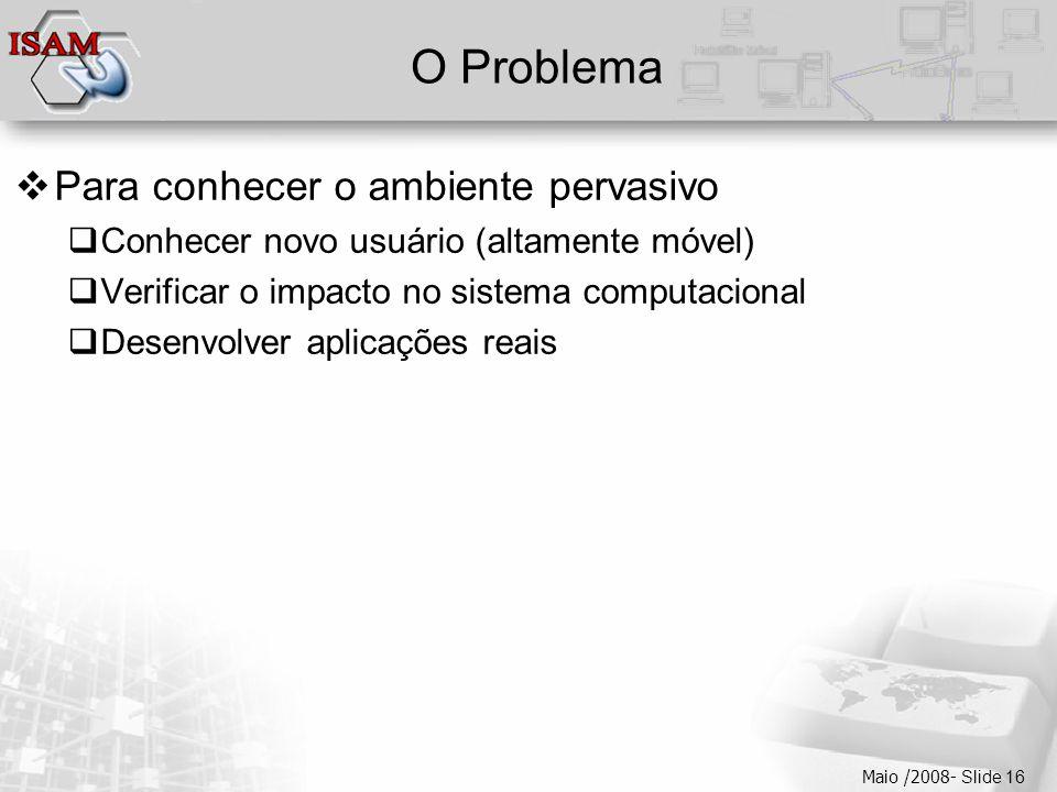  Clique para editar os estilos do texto mestre  Segundo nível  Terceiro nível  Quarto nível  Quinto nível Maio /2008- Slide 16 O Problema  Para