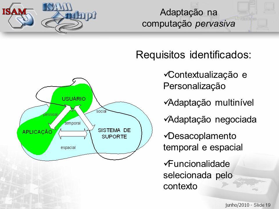  Clique para editar os estilos do texto mestre  Segundo nível  Terceiro nível  Quarto nível  Quinto nível junho/2010 - Slide 19 Adaptação na computação pervasiva Requisitos identificados:  Contextualização e Personalização  Adaptação multinível  Adaptação negociada  Desacoplamento temporal e espacial  Funcionalidade selecionada pelo contexto