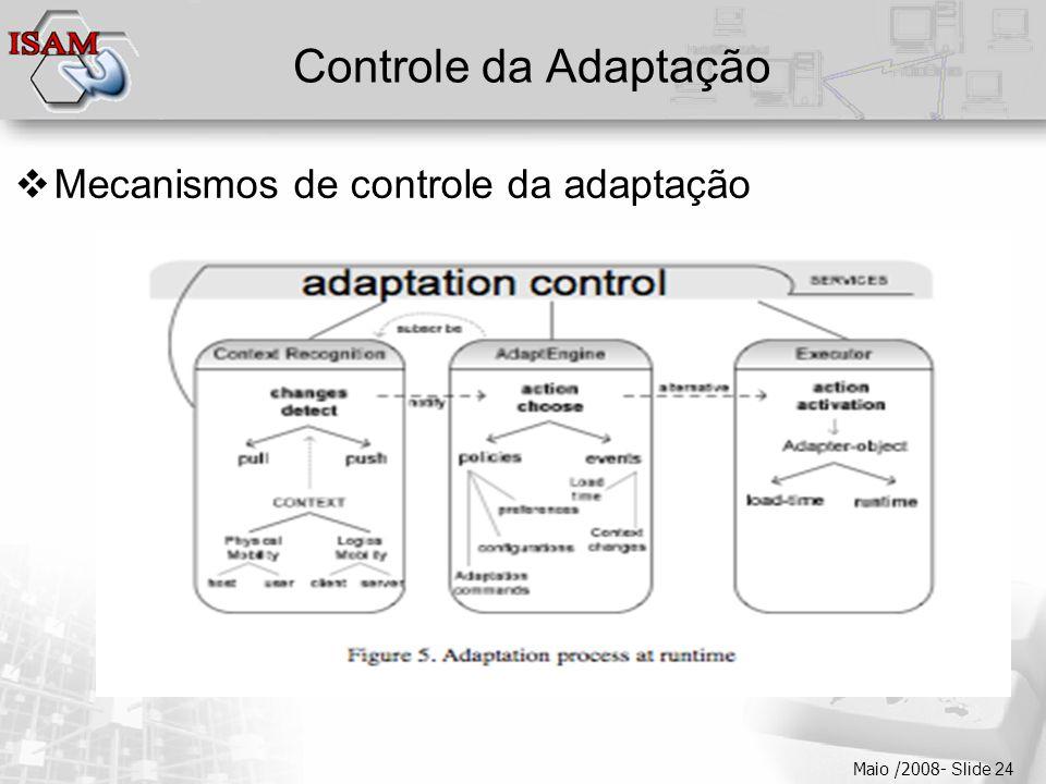  Clique para editar os estilos do texto mestre  Segundo nível  Terceiro nível  Quarto nível  Quinto nível Maio /2008- Slide 24 Controle da Adapta