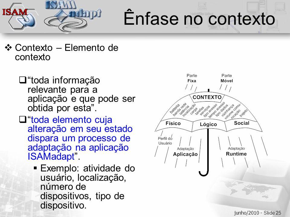  Clique para editar os estilos do texto mestre  Segundo nível  Terceiro nível  Quarto nível  Quinto nível junho/2010 - Slide 25 Ênfase no context