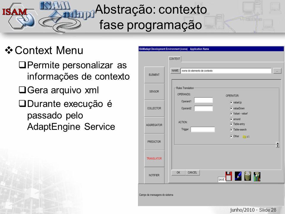  Clique para editar os estilos do texto mestre  Segundo nível  Terceiro nível  Quarto nível  Quinto nível junho/2010 - Slide 28 Abstração: contex