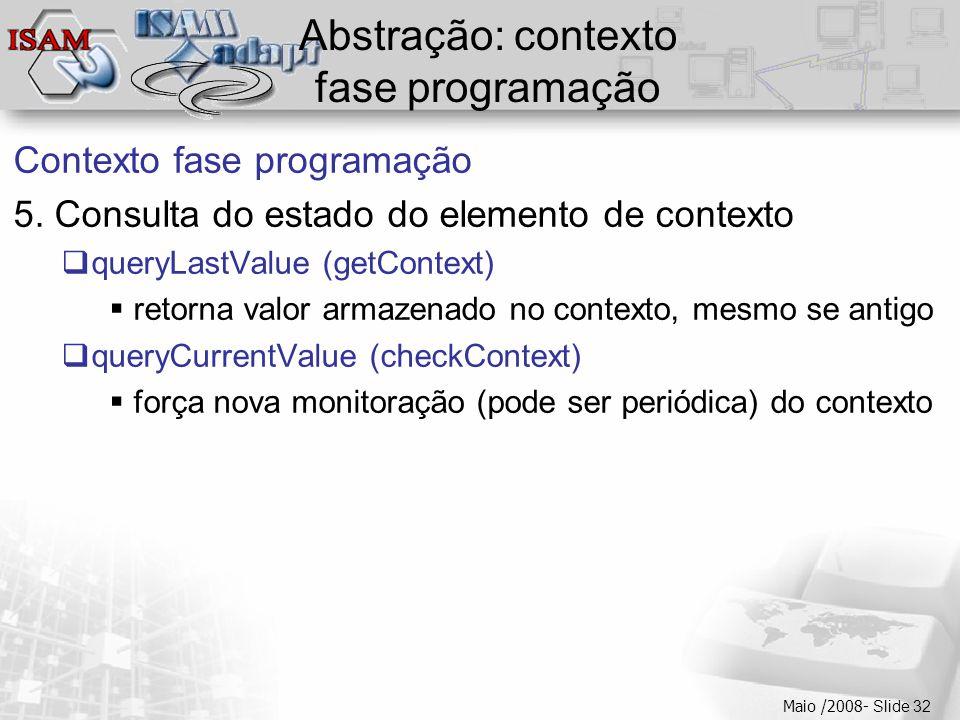  Clique para editar os estilos do texto mestre  Segundo nível  Terceiro nível  Quarto nível  Quinto nível Maio /2008- Slide 32 Abstração: contexto fase programação Contexto fase programação 5.