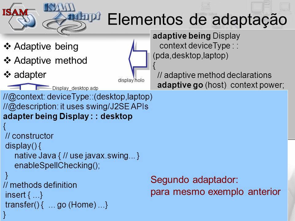  Clique para editar os estilos do texto mestre  Segundo nível  Terceiro nível  Quarto nível  Quinto nível junho/2010 - Slide 40 Elementos de adaptação  Adaptive being  Adaptive method  adapter adaptive being Display context deviceType : : (pda,desktop,laptop) { // adaptive method declarations adaptive go (host) context power; // shared methods definition...
