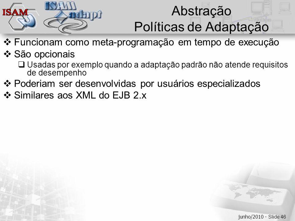  Clique para editar os estilos do texto mestre  Segundo nível  Terceiro nível  Quarto nível  Quinto nível junho/2010 - Slide 46 Abstração Polític