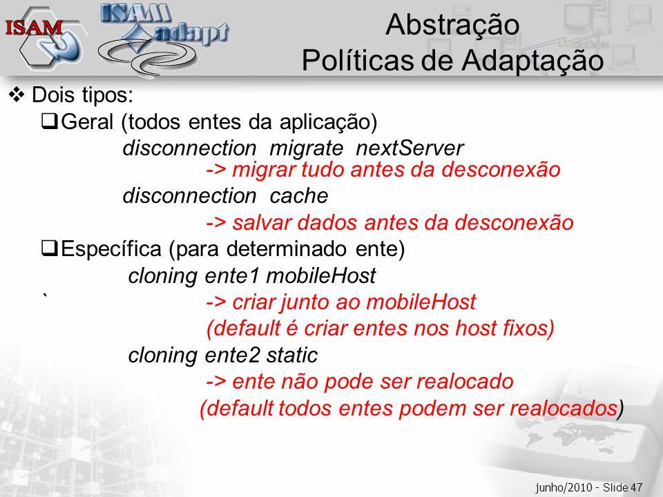  Clique para editar os estilos do texto mestre  Segundo nível  Terceiro nível  Quarto nível  Quinto nível junho/2010 - Slide 47 Abstração Polític