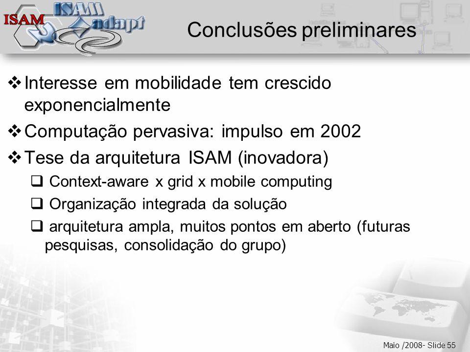  Clique para editar os estilos do texto mestre  Segundo nível  Terceiro nível  Quarto nível  Quinto nível Maio /2008- Slide 55 Conclusões preliminares  Interesse em mobilidade tem crescido exponencialmente  Computação pervasiva: impulso em 2002  Tese da arquitetura ISAM (inovadora)  Context-aware x grid x mobile computing  Organização integrada da solução  arquitetura ampla, muitos pontos em aberto (futuras pesquisas, consolidação do grupo)