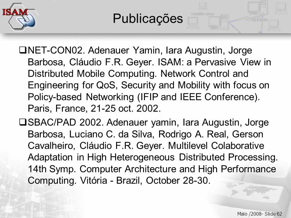 Clique para editar os estilos do texto mestre  Segundo nível  Terceiro nível  Quarto nível  Quinto nível Maio /2008- Slide 62 Publicações  NET-CON02.