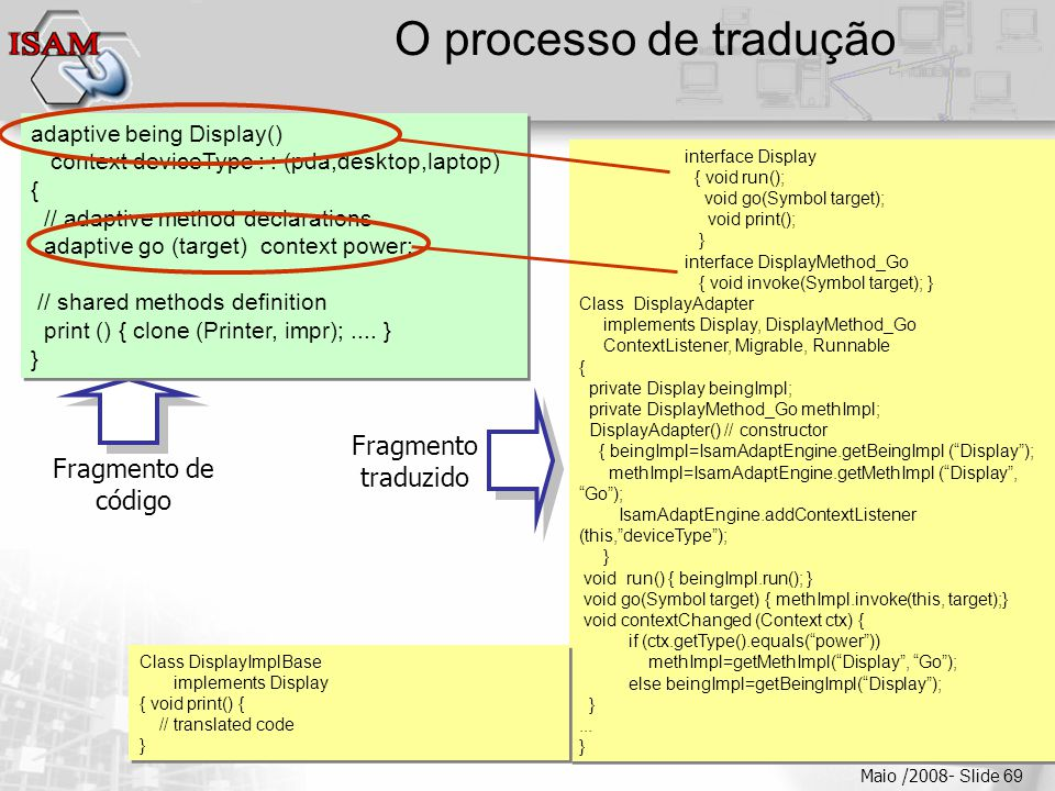  Clique para editar os estilos do texto mestre  Segundo nível  Terceiro nível  Quarto nível  Quinto nível Maio /2008- Slide 69 O processo de tradução Fragmento de código Fragmento traduzido interface Display { void run(); void go(Symbol target); void print(); } interface DisplayMethod_Go { void invoke(Symbol target); } Class DisplayAdapter implements Display, DisplayMethod_Go ContextListener, Migrable, Runnable { private Display beingImpl; private DisplayMethod_Go methImpl; DisplayAdapter() // constructor { beingImpl=IsamAdaptEngine.getBeingImpl ( Display ); methImpl=IsamAdaptEngine.getMethImpl ( Display , Go ); IsamAdaptEngine.addContextListener (this, deviceType ); } void run() { beingImpl.run(); } void go(Symbol target) { methImpl.invoke(this, target);} void contextChanged (Context ctx) { if (ctx.getType().equals( power )) methImpl=getMethImpl( Display , Go ); else beingImpl=getBeingImpl( Display ); }...