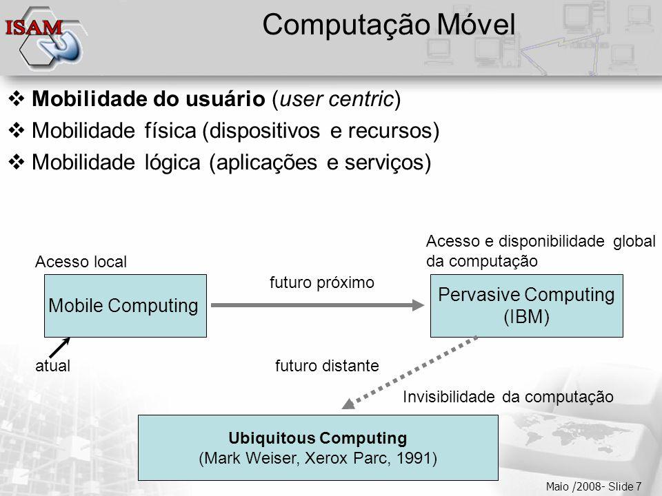  Clique para editar os estilos do texto mestre  Segundo nível  Terceiro nível  Quarto nível  Quinto nível Maio /2008- Slide 7 Computação Móvel 
