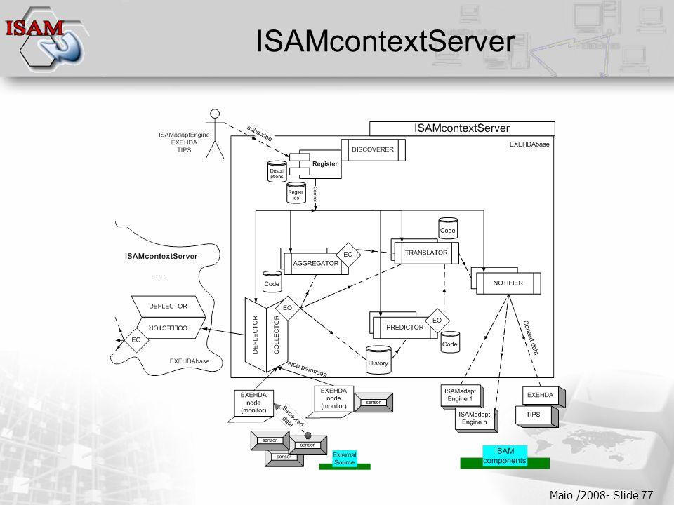  Clique para editar os estilos do texto mestre  Segundo nível  Terceiro nível  Quarto nível  Quinto nível Maio /2008- Slide 77 ISAMcontextServer