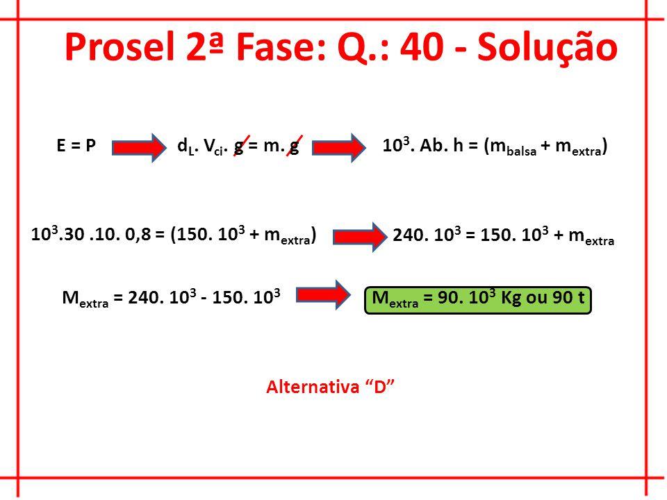 Prosel 2ª Fase: Q.: 40 - Solução Alternativa D E = Pd L.