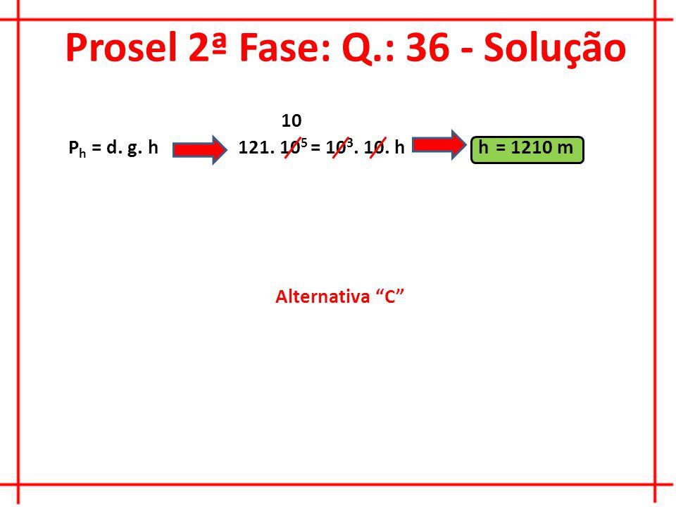 Prosel 2ª Fase: Q.: 36 - Solução P h = d. g. h Alternativa C 121.