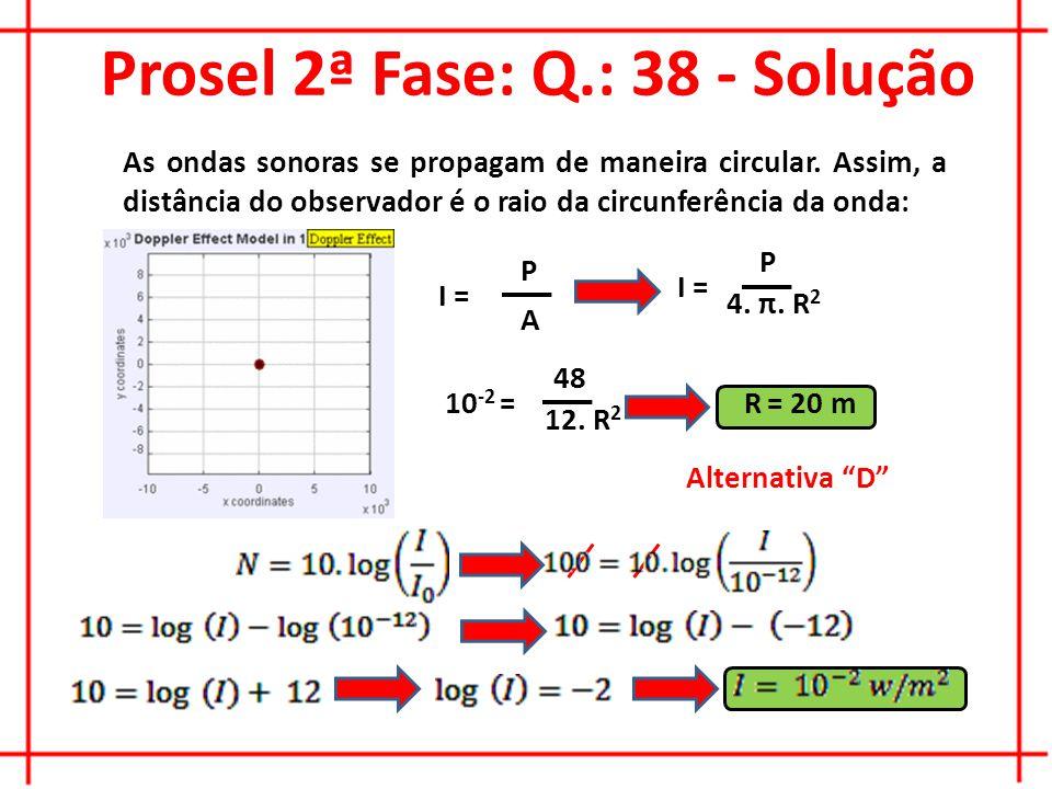 Prosel 2ª Fase: Q.: 38 - Solução Alternativa D As ondas sonoras se propagam de maneira circular.