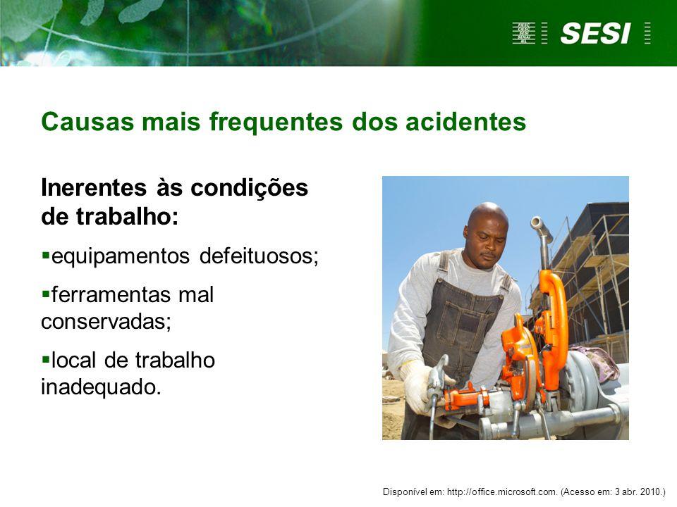 Causas mais frequentes dos acidentes Inerentes às condições de trabalho:  equipamentos defeituosos;  ferramentas mal conservadas;  local de trabalho inadequado.