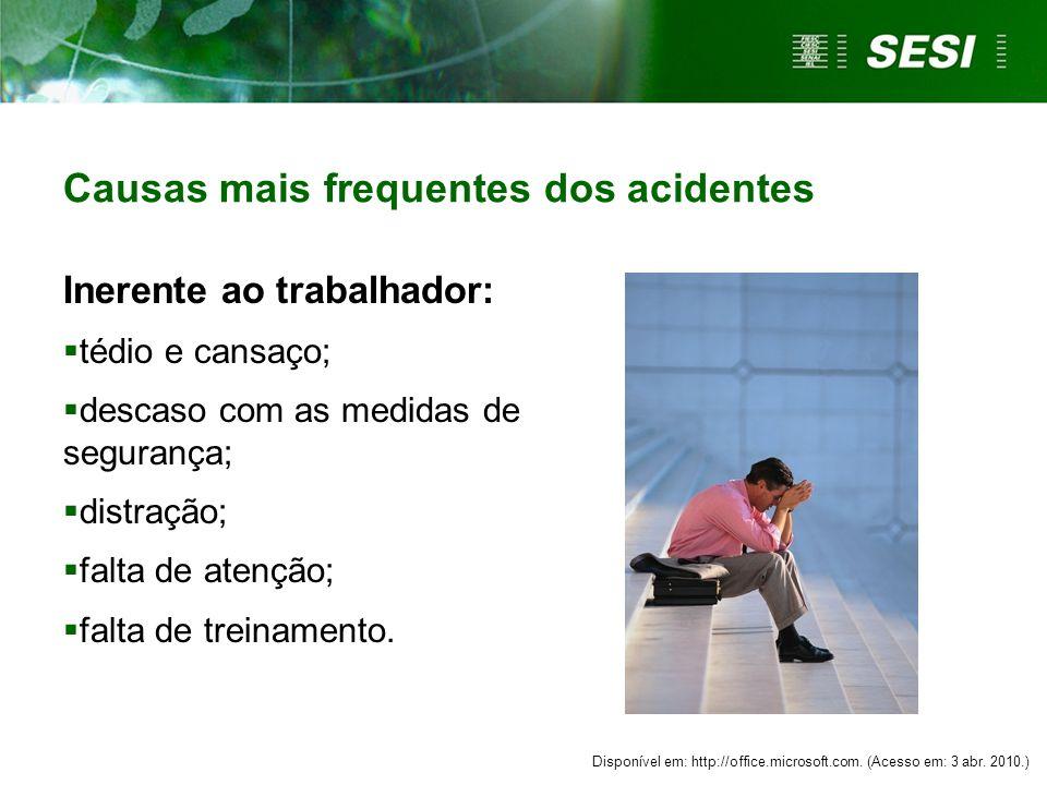 Causas mais frequentes dos acidentes Inerente ao trabalhador:  tédio e cansaço;  descaso com as medidas de segurança;  distração;  falta de atenção;  falta de treinamento.
