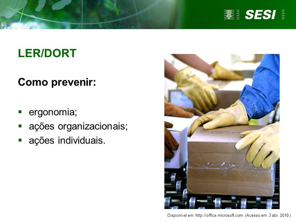 LER/DORT Como prevenir:  ergonomia;  ações organizacionais;  ações individuais.