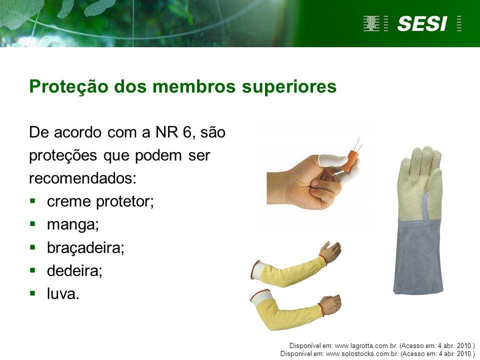 De acordo com a NR 6, são proteções que podem ser recomendados:  creme protetor;  manga;  braçadeira;  dedeira;  luva.