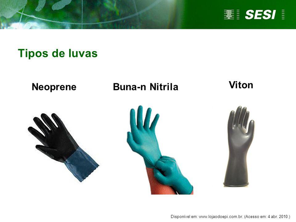 NeopreneBuna-n Nitrila Tipos de luvas Viton Disponível em: www.lojaodoepi.com.br. (Acesso em: 4 abr. 2010.)