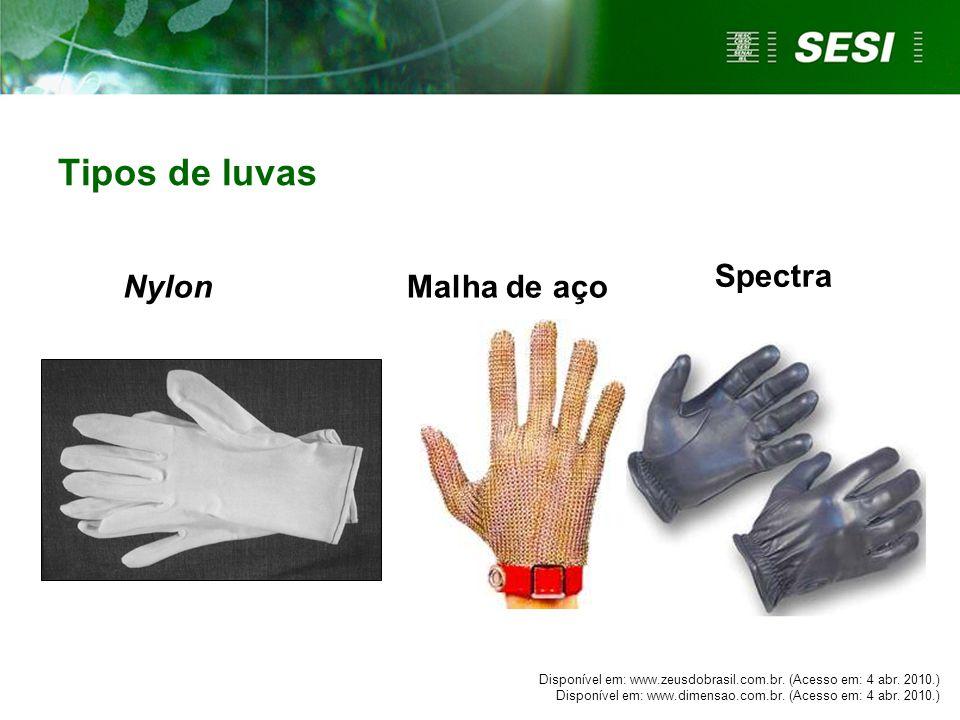 Malha de aço Tipos de luvas Nylon Spectra Disponível em: www.zeusdobrasil.com.br.