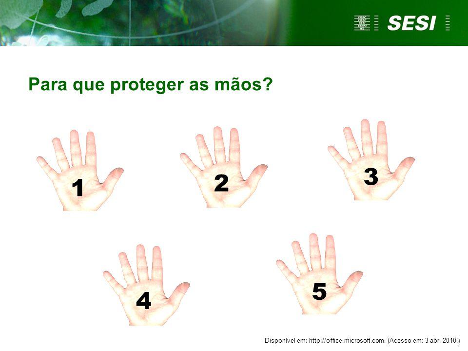 1 2 3 4 5 Para que proteger as mãos.Disponível em: http://office.microsoft.com.