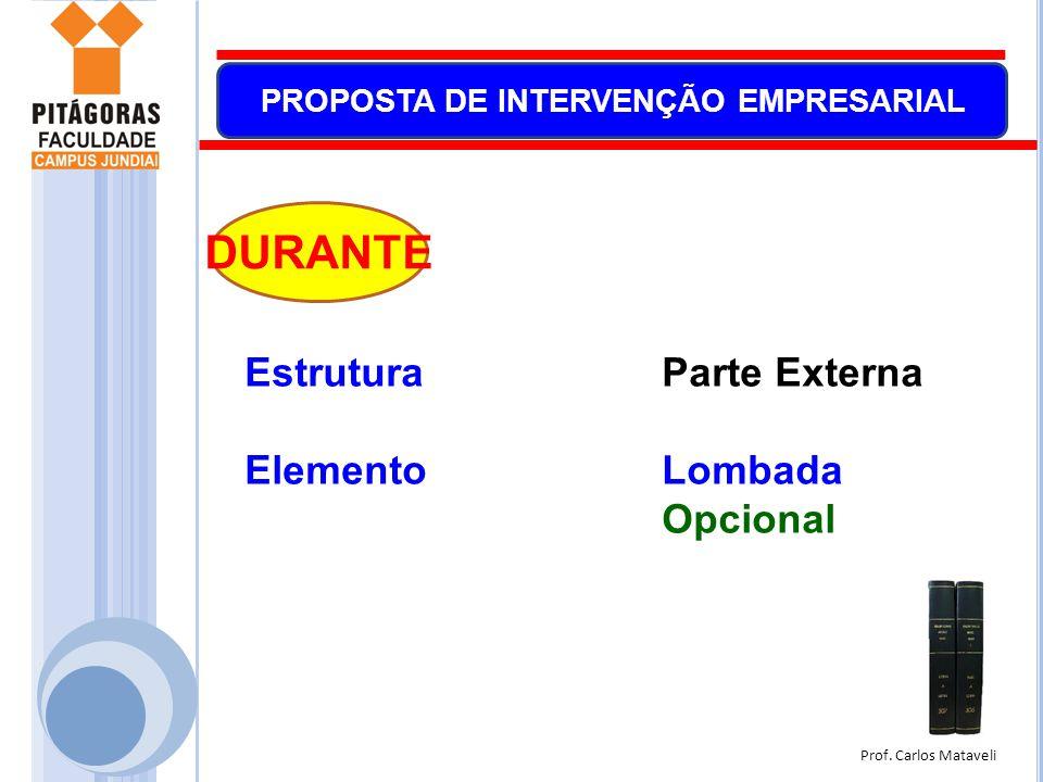 Prof. Carlos Mataveli PROPOSTA DE INTERVENÇÃO EMPRESARIAL EstruturaParte Externa ElementoLombada Opcional DURANTE
