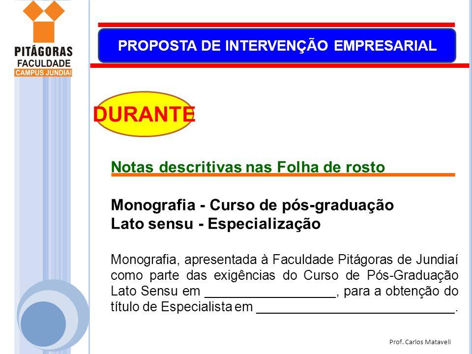 Prof. Carlos Mataveli PROPOSTA DE INTERVENÇÃO EMPRESARIAL DURANTE Notas descritivas nas Folha de rosto Monografia - Curso de pós-graduação Lato sensu