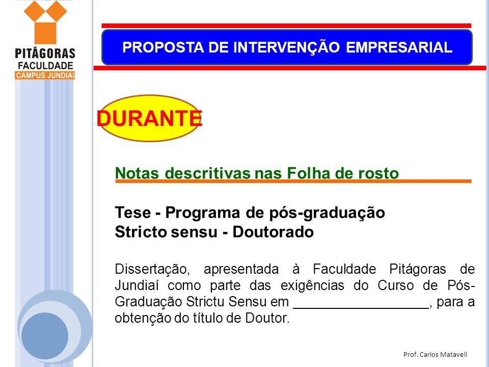 Prof. Carlos Mataveli PROPOSTA DE INTERVENÇÃO EMPRESARIAL DURANTE Notas descritivas nas Folha de rosto Tese - Programa de pós-graduação Stricto sensu