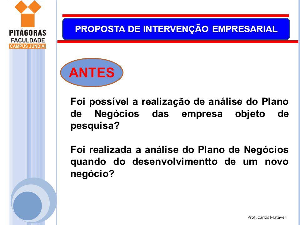 Prof. Carlos Mataveli PROPOSTA DE INTERVENÇÃO EMPRESARIAL Foi possível a realização de análise do Plano de Negócios das empresa objeto de pesquisa? Fo