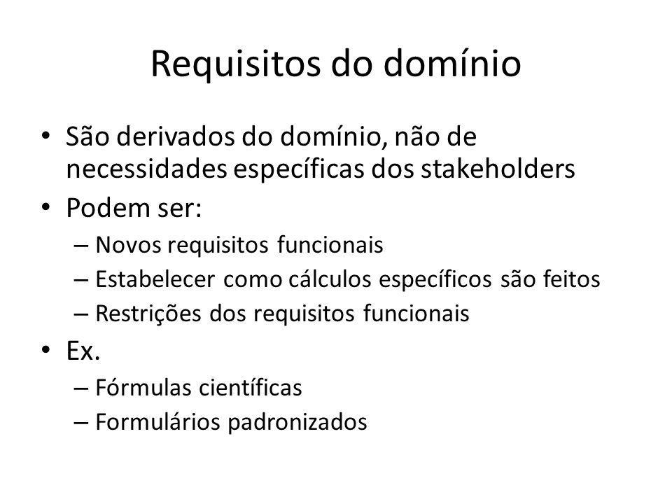 Requisitos do domínio • São derivados do domínio, não de necessidades específicas dos stakeholders • Podem ser: – Novos requisitos funcionais – Estabe