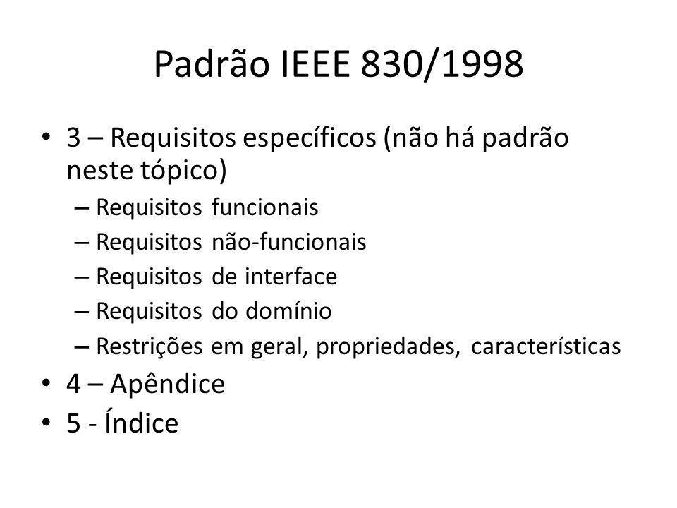 Padrão IEEE 830/1998 • 3 – Requisitos específicos (não há padrão neste tópico) – Requisitos funcionais – Requisitos não-funcionais – Requisitos de int