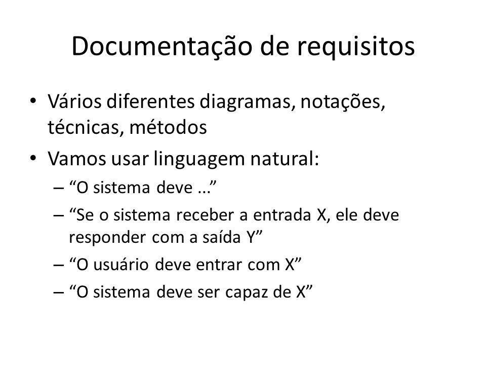 """Documentação de requisitos • Vários diferentes diagramas, notações, técnicas, métodos • Vamos usar linguagem natural: – """"O sistema deve..."""" – """"Se o si"""