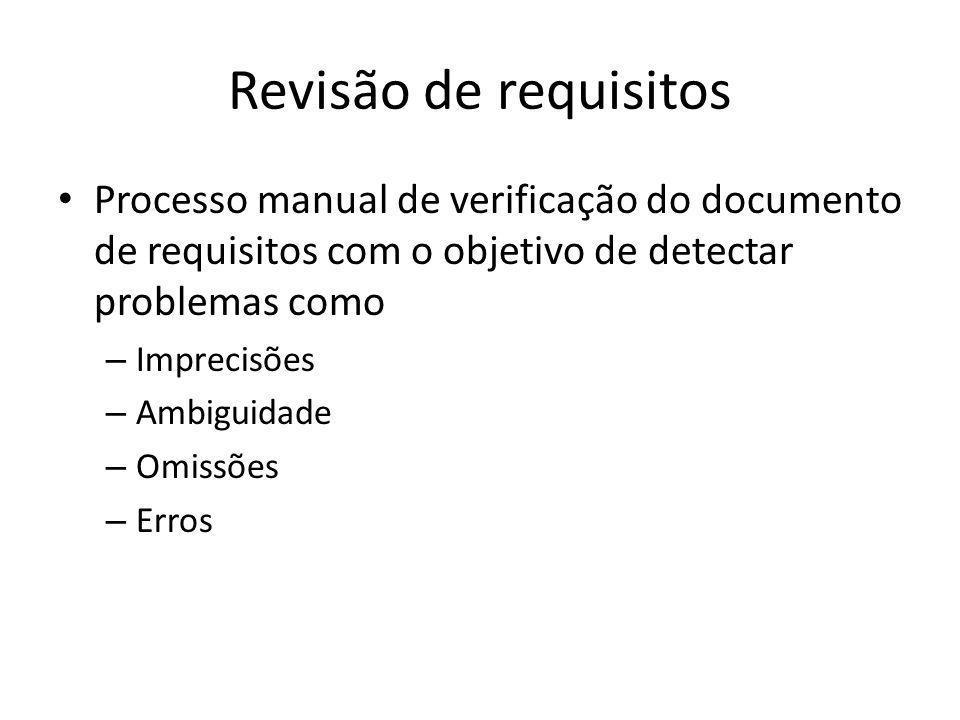 Revisão de requisitos • Processo manual de verificação do documento de requisitos com o objetivo de detectar problemas como – Imprecisões – Ambiguidad