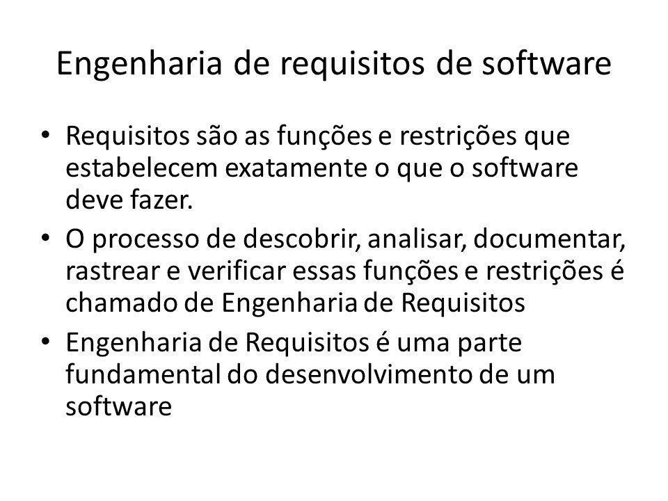 Engenharia de requisitos de software • Requisitos são as funções e restrições que estabelecem exatamente o que o software deve fazer. • O processo de